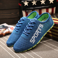 Men Mesh Cloth Breathable Flat Sport Running Casual Shoes