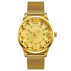 Business Quartz Gold Watches No Number Creative Dial Stainless Steel Strap Wristwatch for Men
