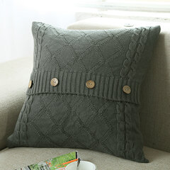 Cotton Removable Knitted Decorative Pillow Case Cushion Cover Cable Knitting Patterns Square Warm