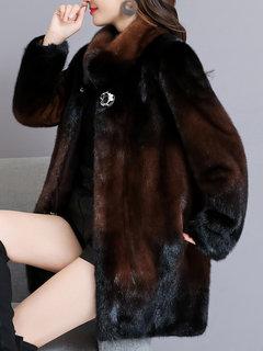 معطف Elagant فو الفراء عالية الرقبة للنساء