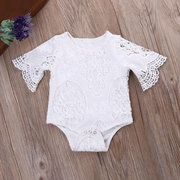 Lace Flower Newborn Baby Girl Flare Sleeve Romper Jumpsuit For 0-24M