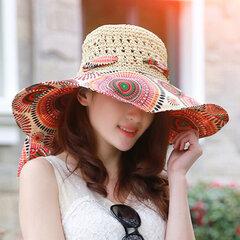 Женская мужская соломенная с принтом Шапка с полями для зонтов Шапка UV Защитная складная крышка