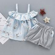 Прекрасная футболка с цветочным принтом Baby Girl Твердые Брюки из двух частей костюмы