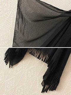 Elegante scialle a maniche corte in nappa per donna