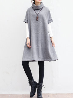 Casual Heap Collar Knit Loose Autumn Winter Dresses