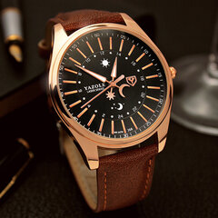 Luxury Men's Leather Quartz Watch Men Business Luminous Gold Clock Star Moon Sun Pattern Wristwatch