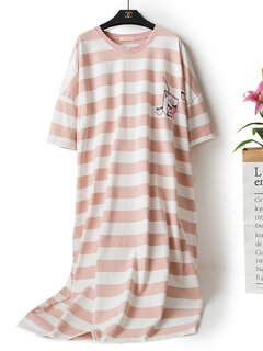 Plus Size Casual Pajamas Cotton Breathable Striped Print Long Loose Sleepwear