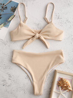 High Waist Bikinis Tie Front Backless Swimsuits Solid Color Women Swimwear By Newchic
