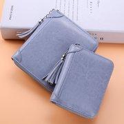 Porte-cartes en cuir véritable avec plusieurs fentes et porte-monnaie pour femme