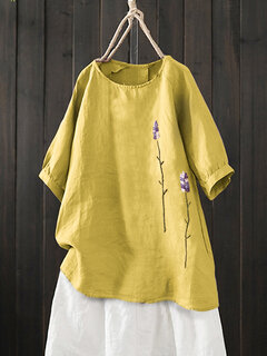 Vintage Embroidered Two Flowers Crew Neck Short Sleeve Shirt