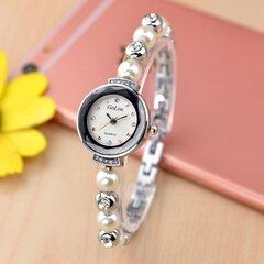 Vigilanza impermeabile delle donne dell'orologio del quarzo del braccialetto della perla dell'orologio del Rhinestone di modo elegante