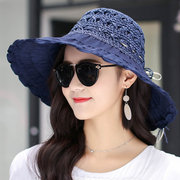 New Wide Brim Collapsible Straw Hat Girl Stripes Carved Breathable Sun Protection Fashion Caps