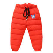Cute Dog Print Girls Winter Thick Down Trouser Pants For 2Y-11Y