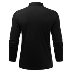 Mens Line Design Fleece Lining Turndown Collar Long Sleeve Casual Cotton Polo Shirt