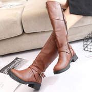 High Top Tube Belt Buckle Boots For Women