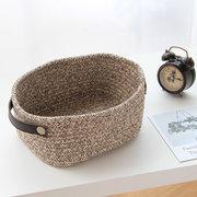 Cesto de algodón tejido acabado Nordic elegante mango de cuero caja de almacenamiento de cuerda de algodón