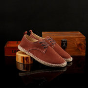 Men Pure Color Knitting Korean Style Suede Lace Up Casual Shoes