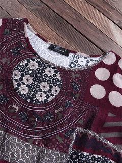 Camicetta a maniche lunghe con bottoni vintage a pois patchwork
