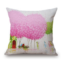 45x45cm Creative Tree Oil Painting Decorative Cushion Cover Pillowcase Home Decor For Sofa Car
