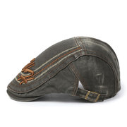 Mens Cotton Letter Embroidery Beret Hat Adjustable Sunshade Casual Outdoors Peaked Forward Duck Cap