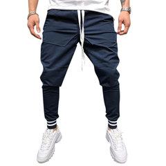 Pareggiatore da uomo Pantaloni con coulisse a tasche tinta unita in cotone sportivo casual