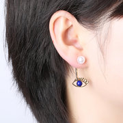 Fashion Pearl Blue Evil Eyes Gold Color Ear Jackets Fashion Dangle Earrings Gift for Women