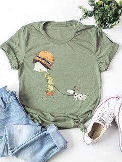 Menina dos desenhos animados Cachorro Imprimir manga curta Casual T-shirt para as mulheres