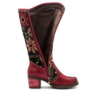 SOCOFY Cowgirl Flower Pattern Genuine Leather Splicing Jacquard Comfortable Knee Boots