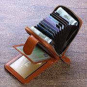 RFID Portefeuille Décontracté Tri-pliant en Cuir Véritable Porte-Carte Sac de Monnaie pour Femme