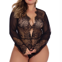 Plus Size Sexy Lingerie Plunge Lace See Through Teddies