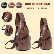 PU Leather USB Rechargeable Chest Bag Waterproof Casual Shoulder Messenger Bag For Men