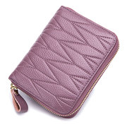 RFID Women Genuine Leather 24 Card Slot Wallet Stitching Coin Purse