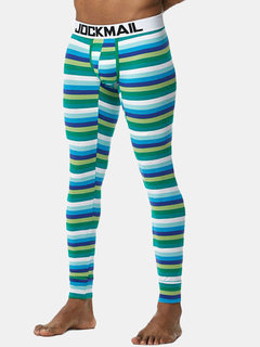 Mens Well-absorbent Breathable Thermal Stripes Patchwork Printing Soft Underwear Long John