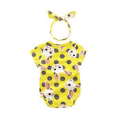 Cute Animal Pattern Baby Summer Jumpsuit with Headband For 0-24M