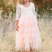 Girls Layered Dress Kids Patchwork Long Princess Dresses For 3Y-11Y