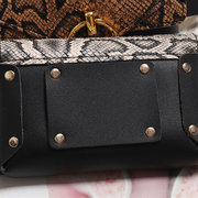 Women Snake Pattern Patchwork Waist Bag PU Leather Phone Purse Casual Chest Bag