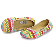 Rainbow Tricotar respirável Soft Sole Casual Shoes Flat