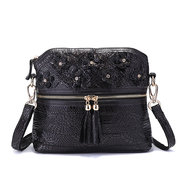 Women Black Genuine Leather Flower Decorational Shell Shoulder Bags Crossbody Bags