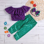 3Pcs Mermaid Girls Sets Tops + Pants + Headband For 1-7Years