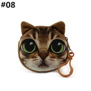 Women Cute Cat Coin Purse Round Print Wallet