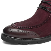 Men Suede Classic Brogue Pattern Plush Lining Casual Boots
