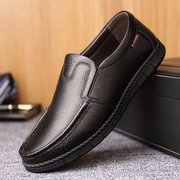 Men Classic Moc Toe Slip On Loafers Soft Leather Shoes