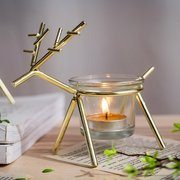 Iron Christmas Elk Tealight Candle Holder Candlestick Party Home Decor Christmas Ornament