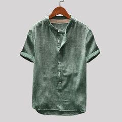 Camiseta informal suelta de manga corta con cuello alto de color sólido para hombre vendimia
