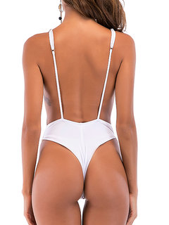 Solid Color Gallus Backless One Piece Swimwear For Women