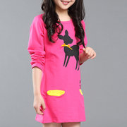 Casual O-Neck Printed Girls Long Sleeve Dress For 4Y-15Y