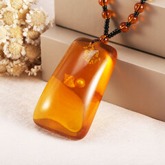 Vintage Ethnic Geometric Beeswax Pendant Necklace Square Rhombus Drop Charm Necklaces Gift