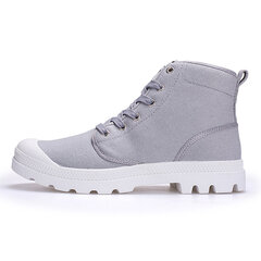Large Size High Top Lace Up Canvas Flat Casual Shoes For Women