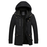 Winter Inside Fleece Thicken Mid Long Hooded Cotton Casual Plus Size Work Jacket for Men
