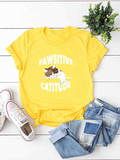 Imprimir Cat O Neck T-shirts de manga curta Casual